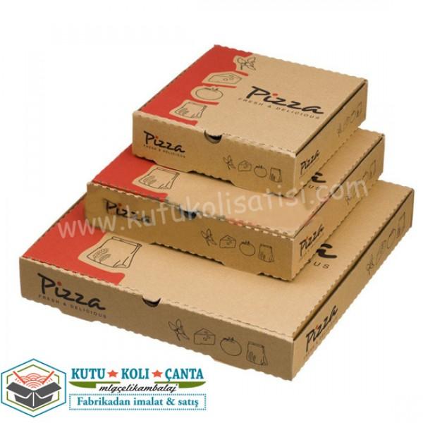 Pizza Kutusu Set 2 Kahverengi